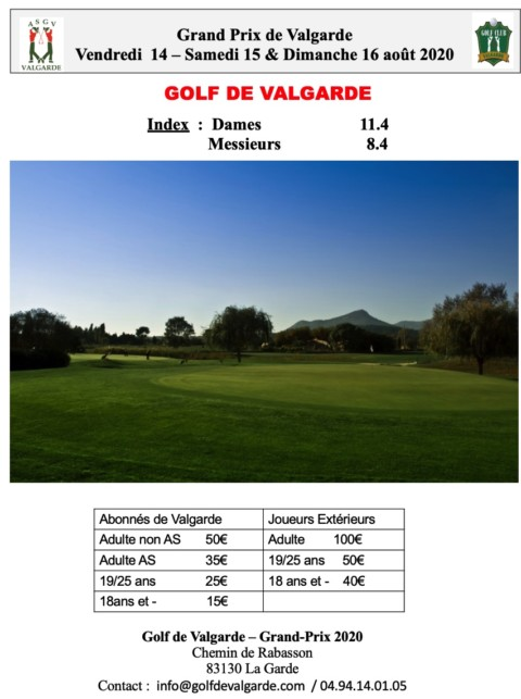 Grand Prix de Valgarde – 14 au 16 Août